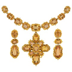 Early Victorian Topaz and Gold Repousse Suite