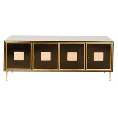 Ebonized French Sideboard with Marble Top, circa 1950