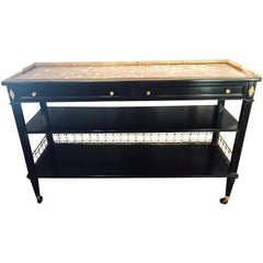 Ebony Jansen Hollywood Regency Serving Cart, Bar Cart or Sideboard