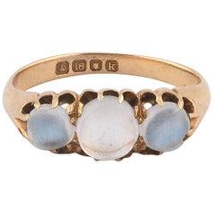 Edwardian 18 Carat Gold Moonstone Three-Stone Ring