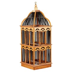 Edwardian Box Wood Birdcage of Large Scale with Bamboo Caning