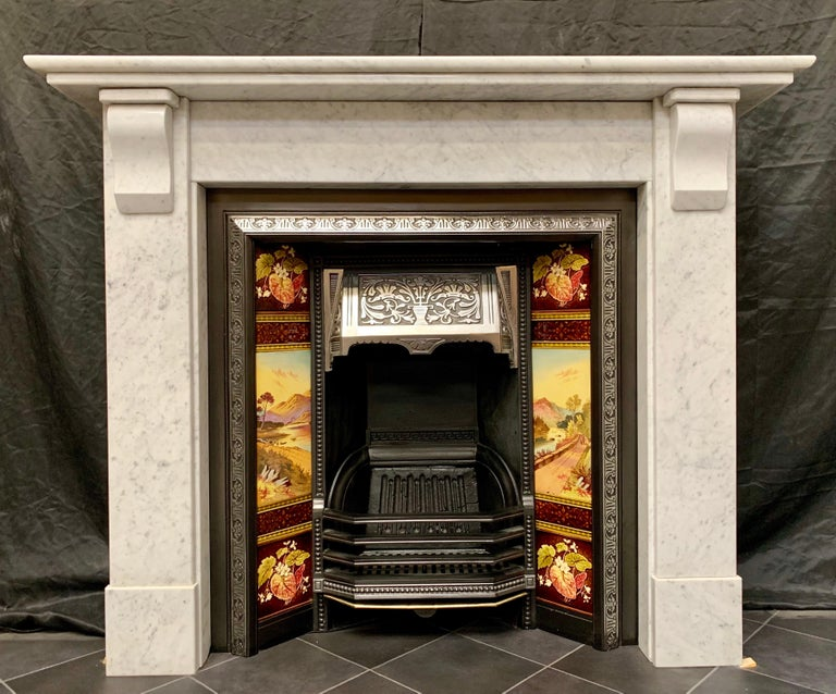 A Medium Sized And Unusually Deep Edwardian Carrara Marble Corbel Fireplace Surround Double Stepped