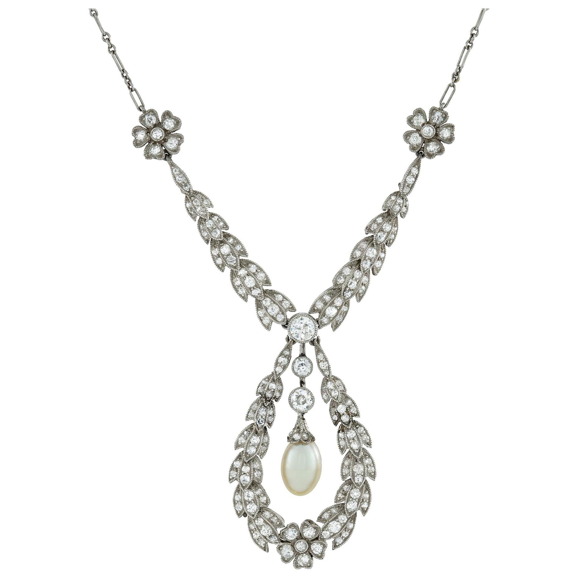 Edwardian Diamond Laurel Necklace with Pearl Drop