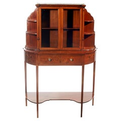 Edwardian Mahogany and Satinwood Marquetry Two-Door Display Cabinet