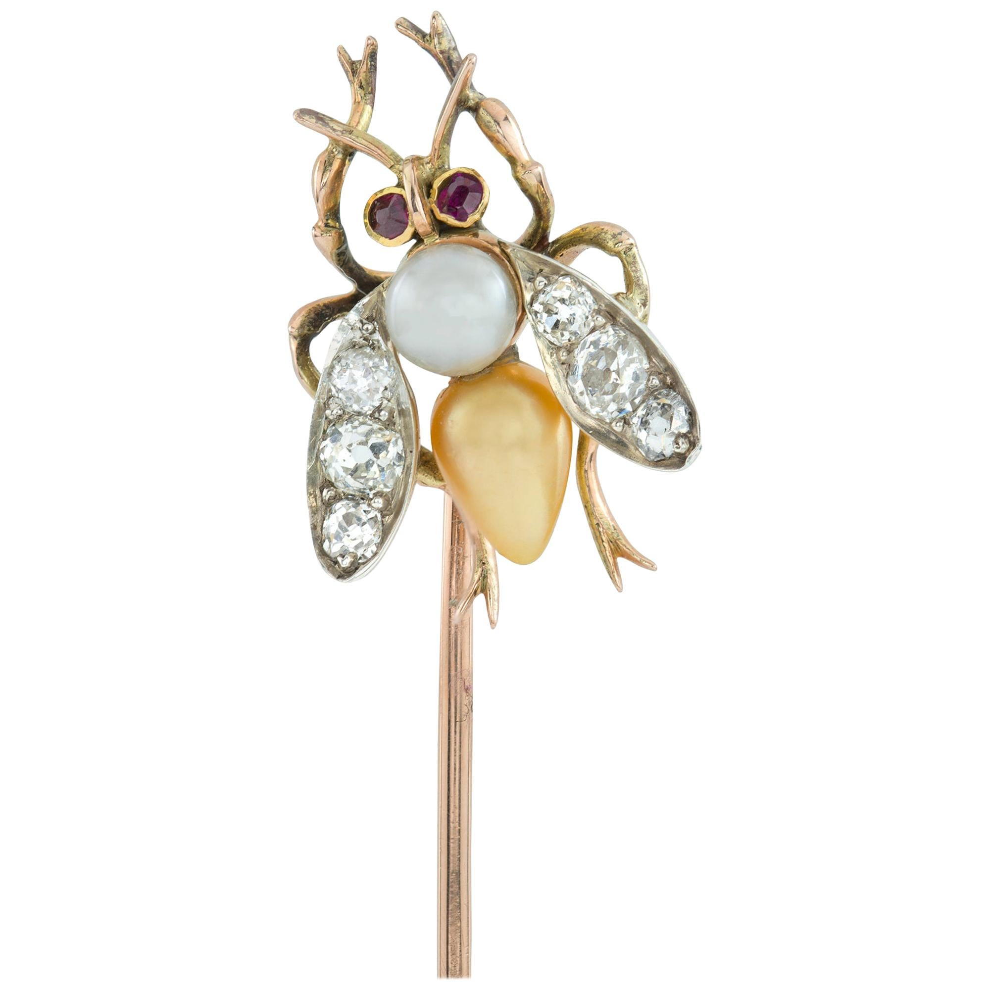 Edwardian Natural Pearl and Diamond-Set Bee Stick Pin