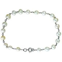 Edwardian Natural Pearl Platinum Bracelet