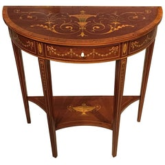 Edwardian Period Demilune Side Table by Edwards and Roberts of London