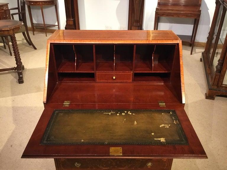 Early 20th Century An Edwardian Period Mahogany Inlaid Antique Bureau For Sale