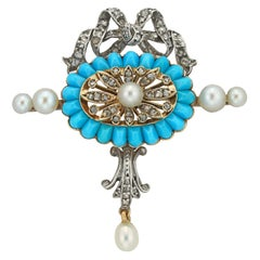 Edwardian Turquoise, Pearl, and Diamond Brooch