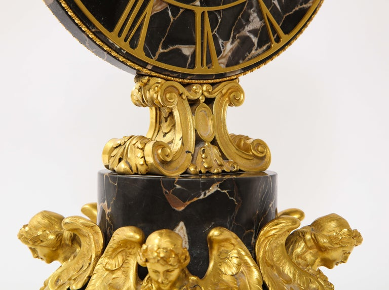 E.F. Caldwell Veined Black Marble and Dore Bronze Mounted Sphinx Legged Clock For Sale 3