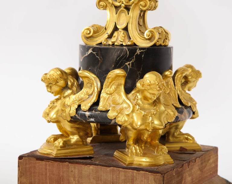 E.F. Caldwell Veined Black Marble and Dore Bronze Mounted Sphinx Legged Clock For Sale 4