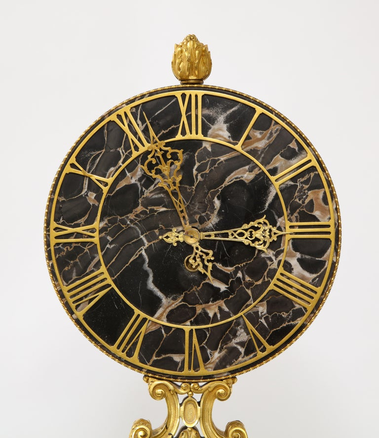 E.F. Caldwell Veined Black Marble and Dore Bronze Mounted Sphinx Legged Clock For Sale 7