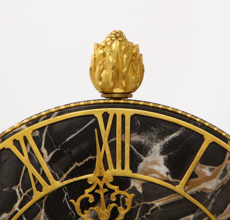 E.F. Caldwell Veined Black Marble and Dore Bronze Mounted Sphinx Legged Clock For Sale 9