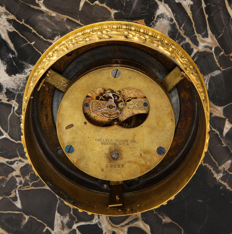 E.F. Caldwell Veined Black Marble and Dore Bronze Mounted Sphinx Legged Clock For Sale 11