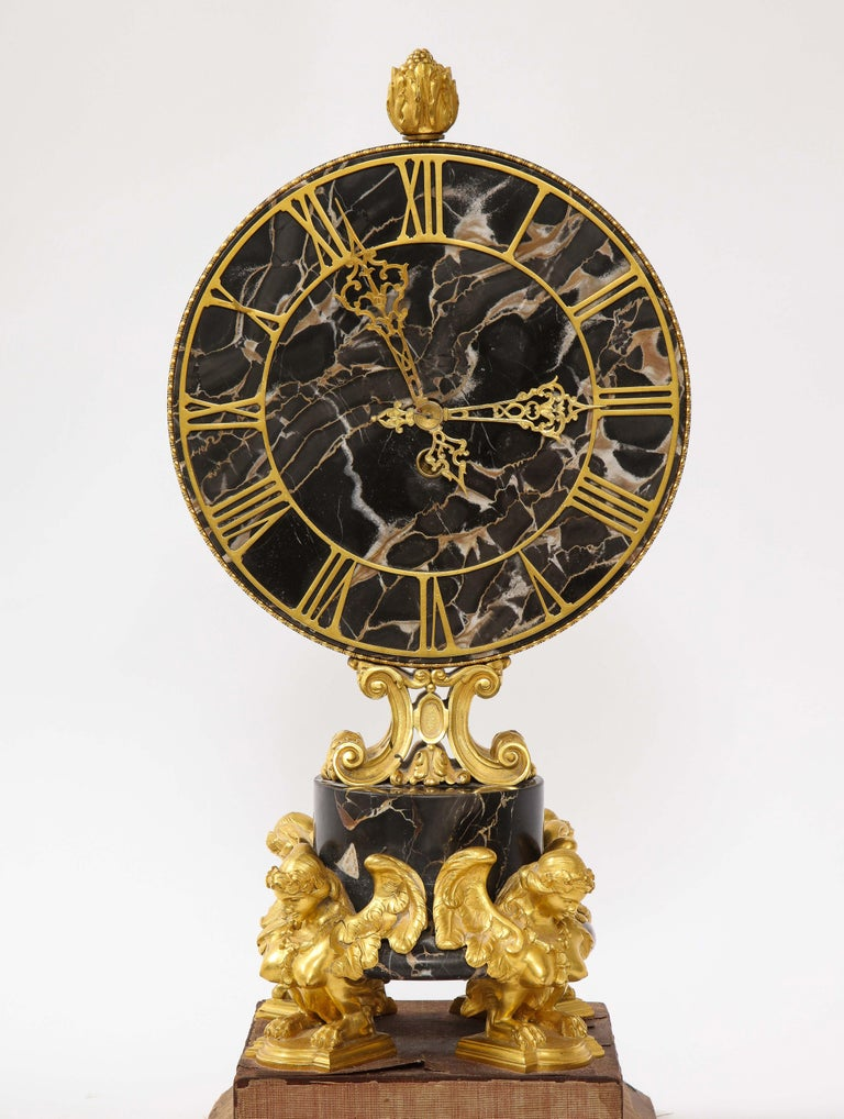 Louis XVI E.F. Caldwell Veined Black Marble and Dore Bronze Mounted Sphinx Legged Clock For Sale