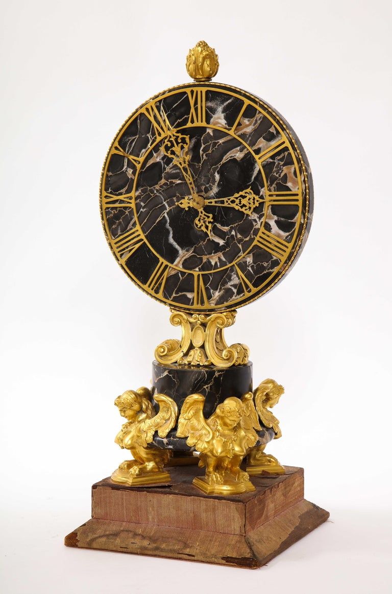 American E.F. Caldwell Veined Black Marble and Dore Bronze Mounted Sphinx Legged Clock For Sale
