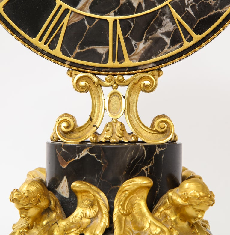 E.F. Caldwell Veined Black Marble and Dore Bronze Mounted Sphinx Legged Clock For Sale 2
