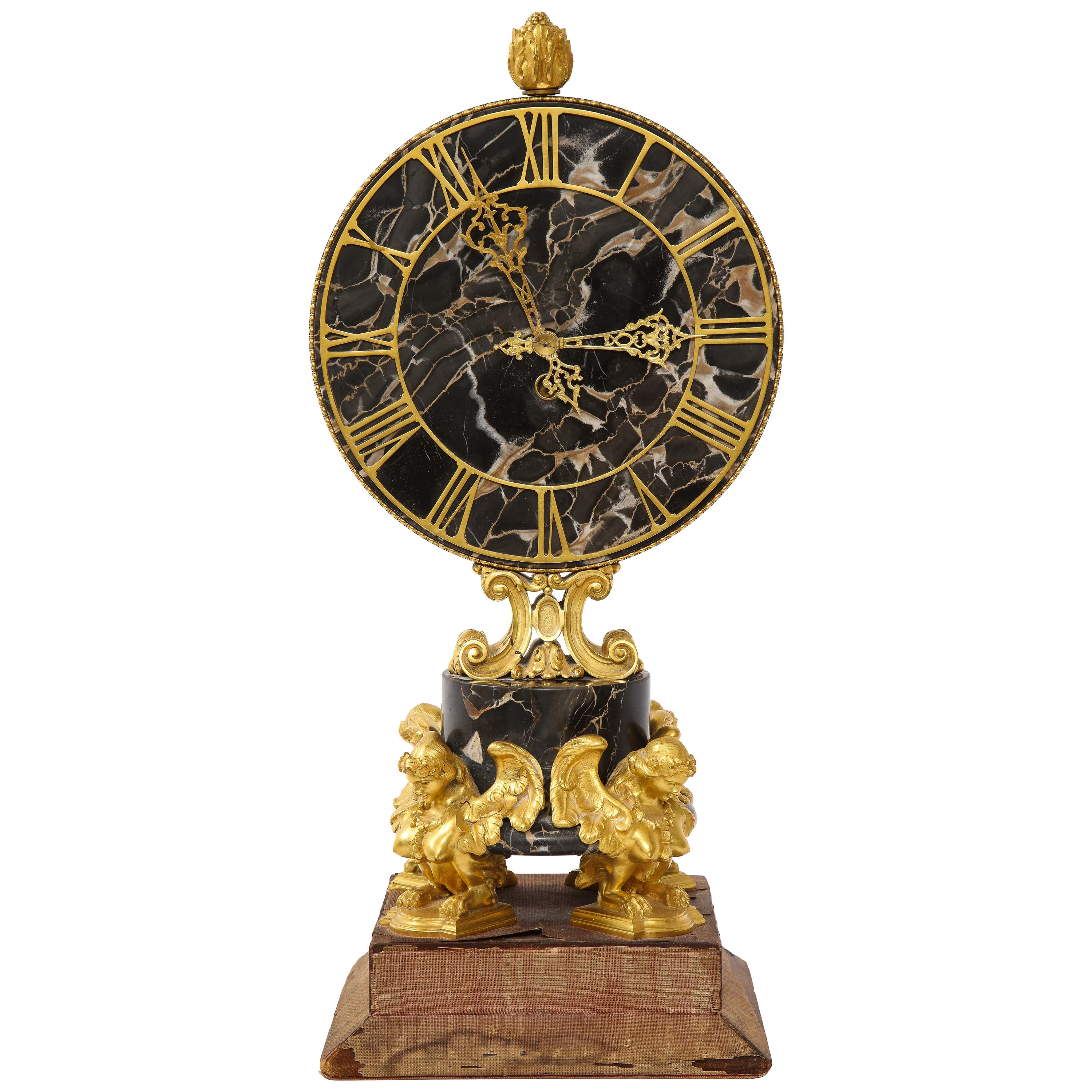 E.F. Caldwell Veined Black Marble and Dore Bronze Mounted Sphinx Legged Clock