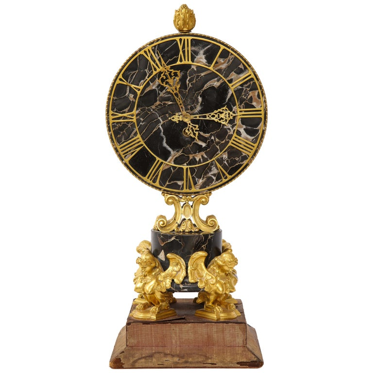 E.F. Caldwell Veined Black Marble and Dore Bronze Mounted Sphinx Legged Clock For Sale