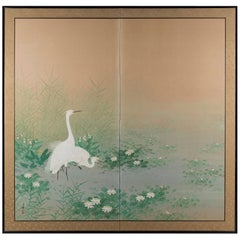 """An Egret Amongst Lillies"" Early 20th Century Japanese Byobu Screen"