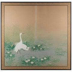 """Egrets Amongst Lotuses"" Early 20th Century Japanese Byobu Screen"
