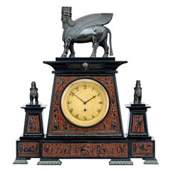 Egyptian Revival Bronze and Marble Mantel Clock by Webster, London, 1865