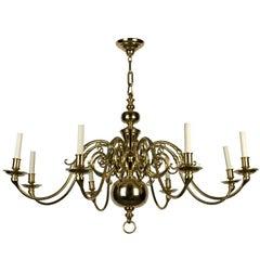 An eight-light solid brass chandelier