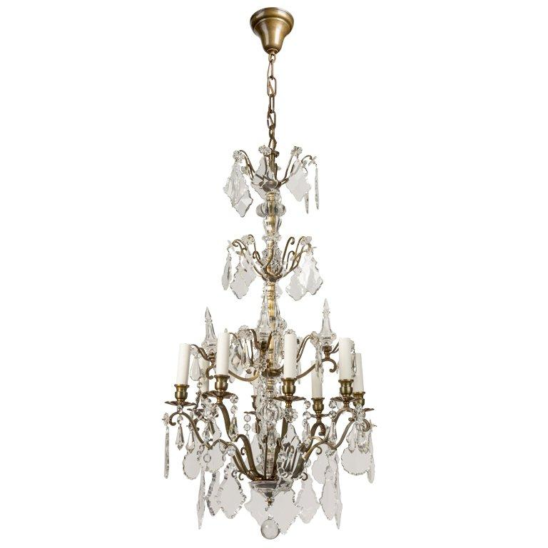 An Eight-light Tiered Crystal Chandelier