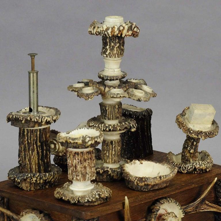 German Elaborate Handmade Black Forest Style Smoking Set, circa 1900 For Sale