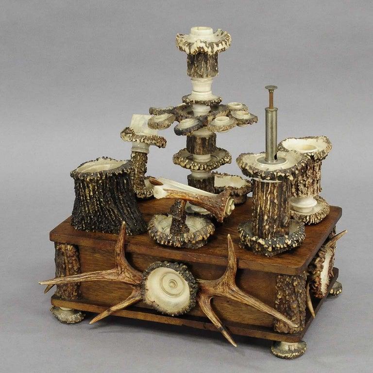 20th Century Elaborate Handmade Black Forest Style Smoking Set, circa 1900 For Sale