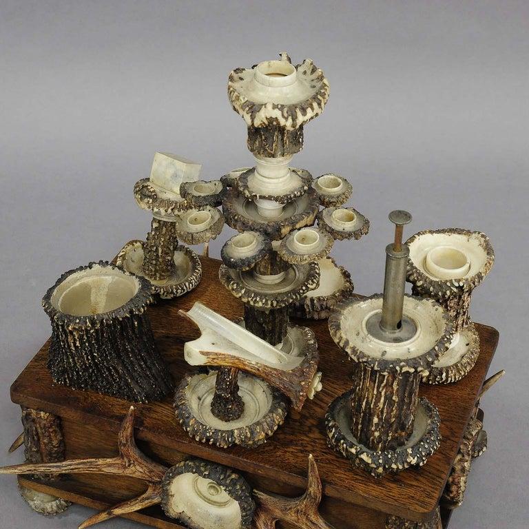 Antler Elaborate Handmade Black Forest Style Smoking Set, circa 1900 For Sale