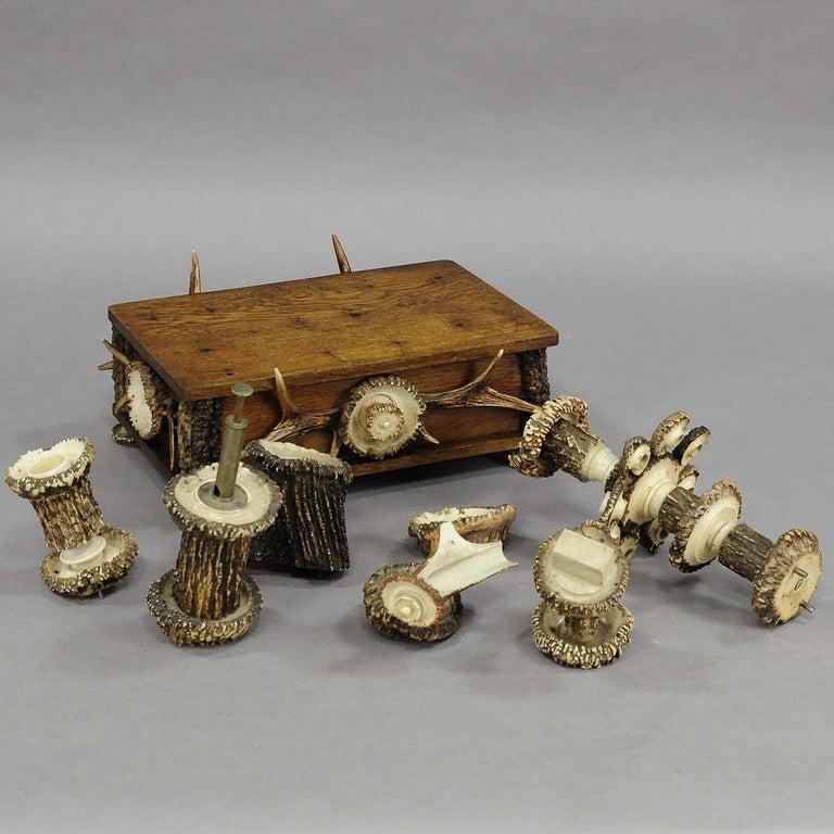 Elaborate Handmade Black Forest Style Smoking Set, circa 1900 For Sale 1