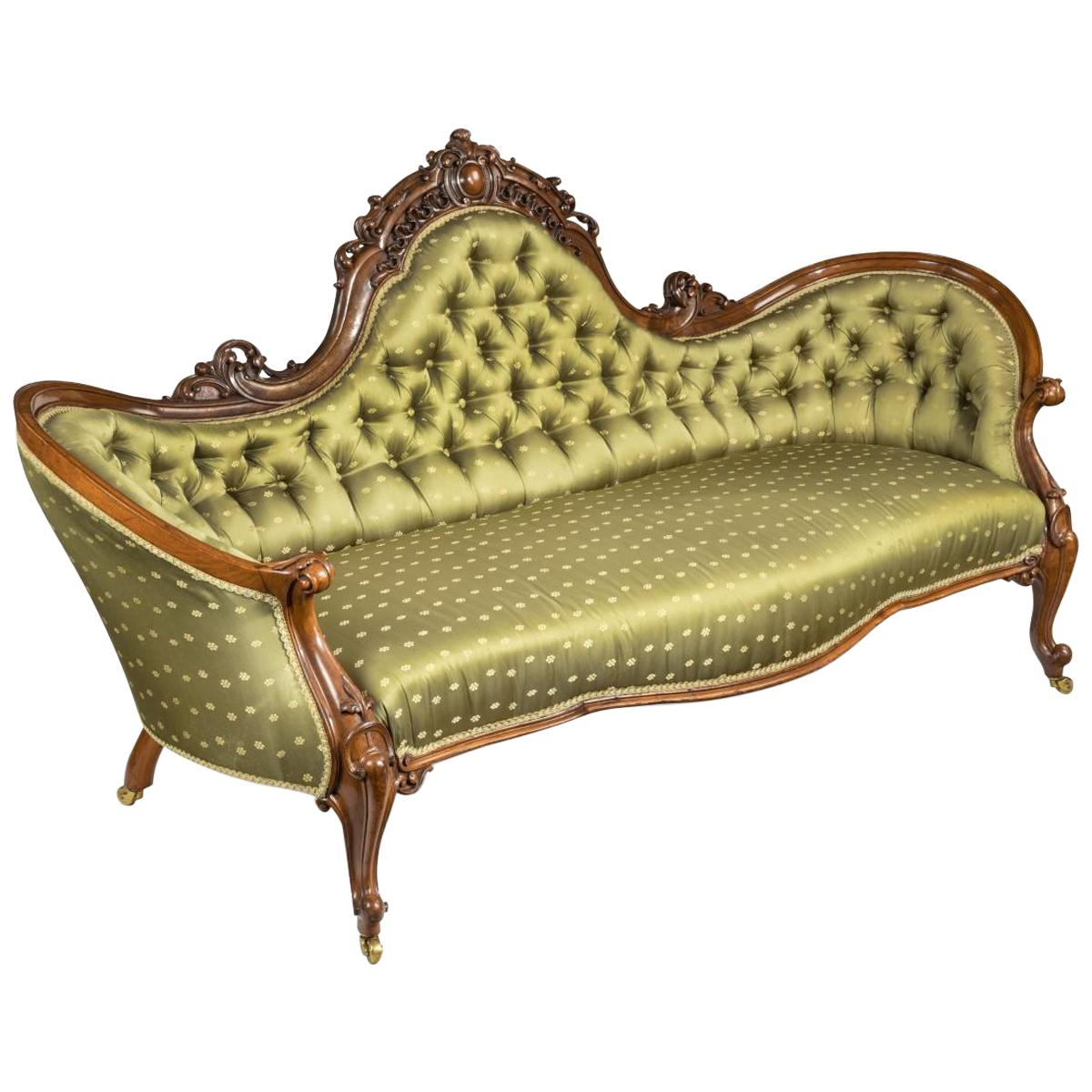 Elaborate Victorian Shaped Walnut Sofa
