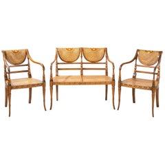 Elegant Early 20th Century Satin Mahogany Salon Suite