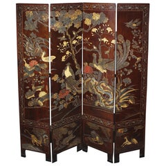 Elegant Four-Panel Antique Chinese Double-Sided Coromandel Screen