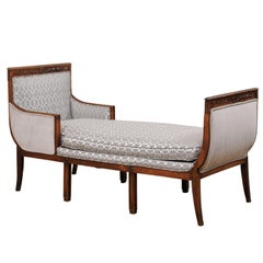An Elegant French Duchesse en Bateau (Chaise) Newly Upholstered, 19th Century