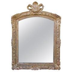 An Elegant French Regence Carved Giltwood Mirror w/Plumed Crest