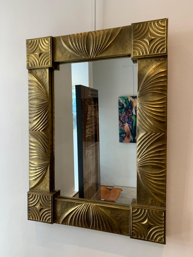 Elegant French Repoussé Gilt Metal Mirror, 1940s In Good Condition For Sale In Brussels, BE