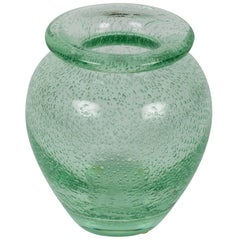 Green Glass Vase by Daum Nancy