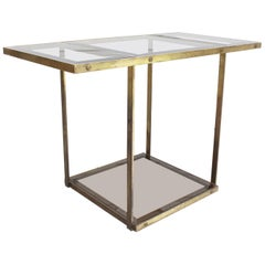 Elegant Italian Brass and Glass 1970s Console Table