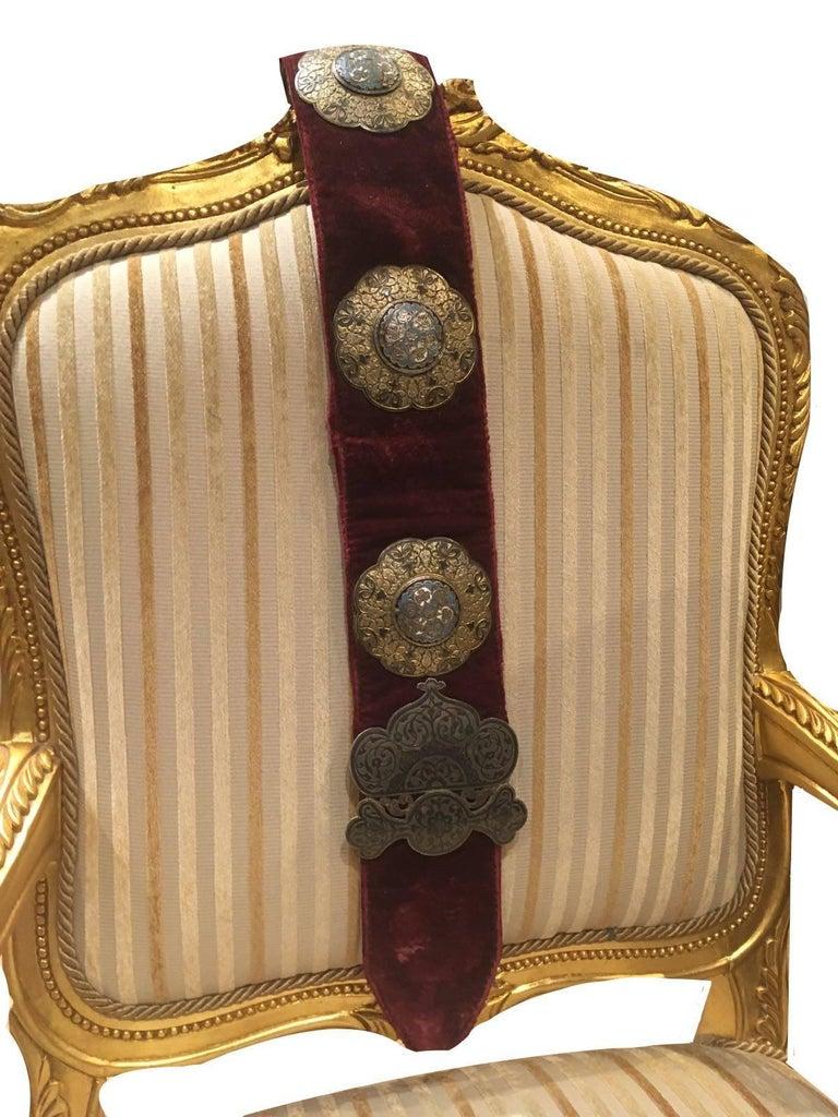 An elegant ottoman Royalty enamel belt, Turkish, 19th century.  Measures: 127cm long!