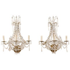 Elegant Pair of Mid-20th Century Crystal Waterfall Wall Sconces from France