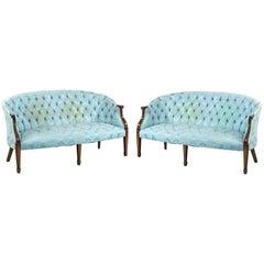 Elegant Pair of Mid-20th Century Georgian Style Mahogany Framed Sofas