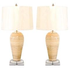 Elegant Pair of Vintage Bamboo Vessels as Custom Lamps