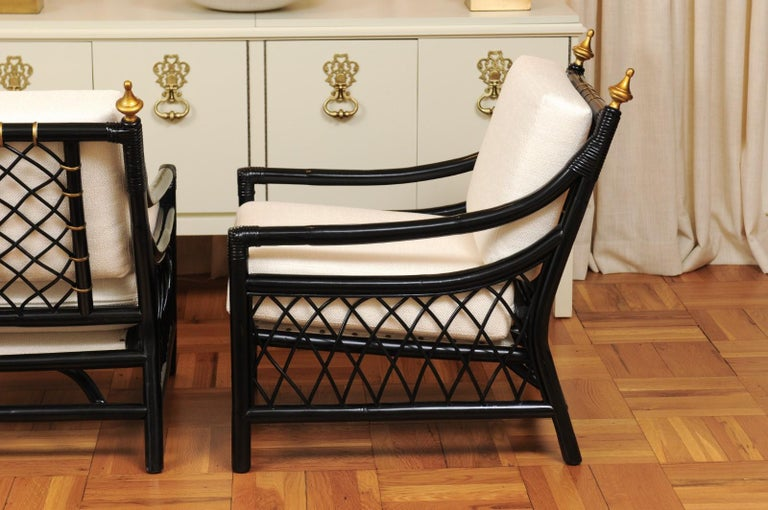 Elegant Restored Pair of Throne Loungers by Willow and Reed, circa 1955 For Sale 4