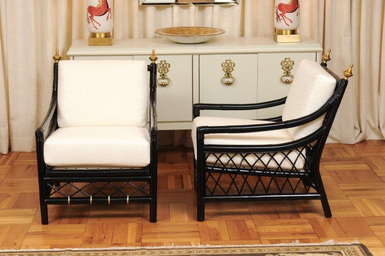 Elegant Restored Pair of Throne Loungers by Willow and Reed, circa 1955 For Sale 5