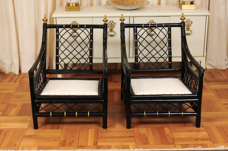 Elegant Restored Pair of Throne Loungers by Willow and Reed, circa 1955 For Sale 9