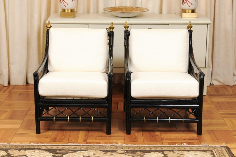 Elegant Restored Pair of Throne Loungers by Willow and Reed, circa 1955 In Excellent Condition For Sale In Atlanta, GA