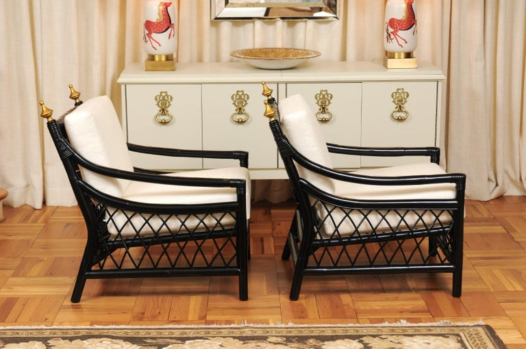 Cane Elegant Restored Pair of Throne Loungers by Willow and Reed, circa 1955 For Sale