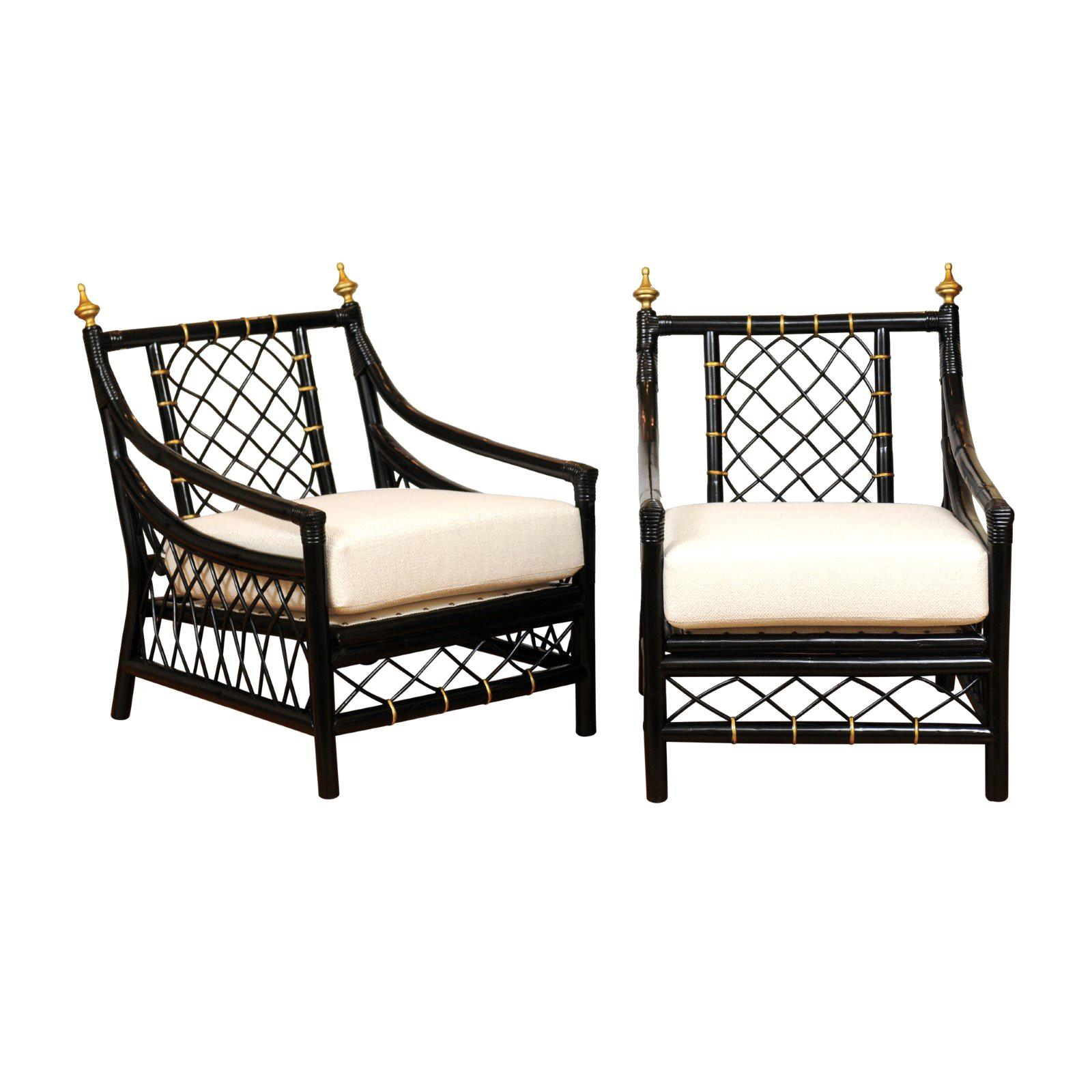 Elegant Restored Pair of Throne Loungers by Willow and Reed, circa 1955